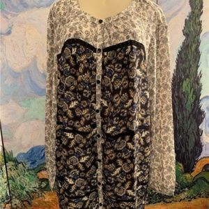 Woman Within Black Mixed Print Button Tunic Blouse